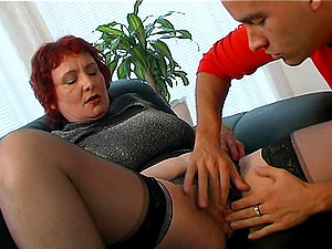 Red-haired matured granny still perfecting marvelous boob fucking