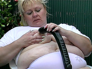 Chubby honey plays with the lengthy plaything and deep throats the playmate's erection