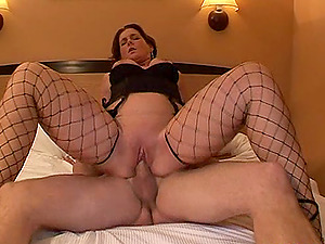 Experienced chick in the fishnet underwear likes the hard stuffing