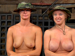 Horny guys from the army tormenting the hot senoritas in the forest