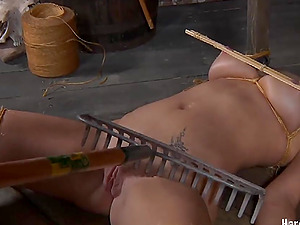 Enticing blonde lassie Sophie Ryan gets restrained with cable