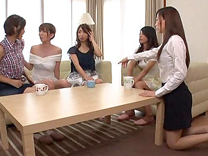 Kinky switch roles group sex featuring a group of horny Asian fillies