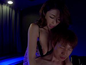 Japanese chick goes crazy over the dick in the blue-lighted room
