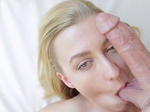Inviting blonde honey deepthroats a massive meat pole