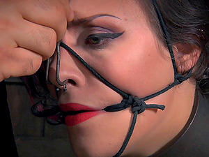 Gorgeous woman's knockers put thru an ordeal by her master