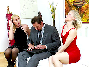 Two enthralling honies and a horny businessman having a nice threesome