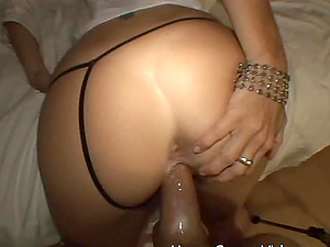 Mature woman leans over for a horny fellow's pulsing dick