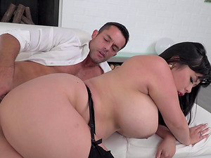 Flamboyant chick with large hooters receives the assfuck treatment