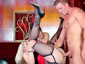 Hot culo pornographic star in high high-heeled shoes luving beaver tonguing in ffm pornography