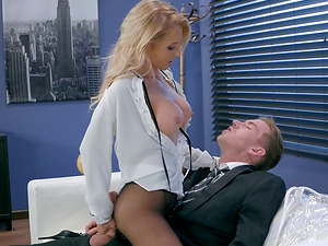Alix tempts the draped businessman and lets him drill her tunnel