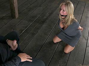 Blonde restrain bondage gimp with big tits tonguing nut in Sadism & masochism