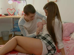 Student having her first-ever ass fucking practice with the horny boy