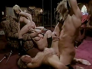 Lucky banger has a fourway with three inviting cock-hungry blondes