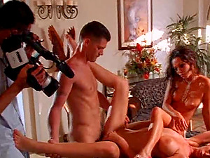 Sexy model getting penetrated hard-core in reality backstage group romp