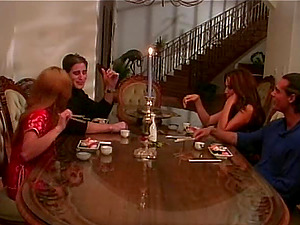 Dinner soiree finishes in hot ladies being fucked by their friends