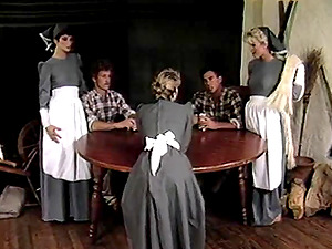 Amber Lynn with nice booty throbbed slickly in group hook-up