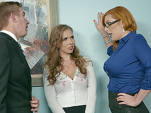 Horny secretaries want to make their chief supah randy