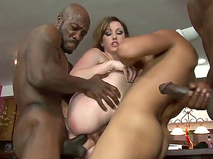 Milky chick has a blast while playing with black fat dicks