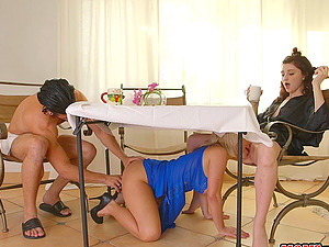 Sara and Haily get frolic with a fellow's erected love device