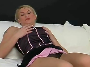 Blonde huge-titted darling finger-tickling cunt and using cucumber