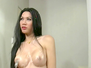 Stunning black-haired shemale likes a messy oral pleasure session