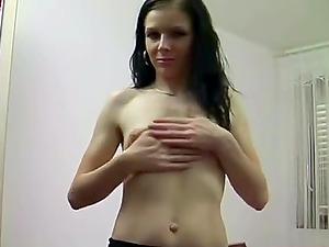 Dark haired honey masturbates with fuck stick and fingerblasting