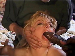 Blonde wifey has her mouth and labia utter of big sausages