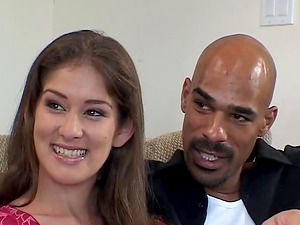 Black man makes a bashful brown-haired groan as her paramour witnesses