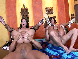 Angel Pink and Jeny Baby in a hot and wild four-way