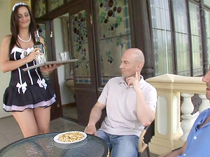 Alluring French maid Simone Style fucked by two fellas