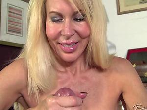 Hot blonde woman Erica Lauren loves milking a big dick