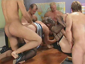 Two grannies in a classroom orgy that will deepthroat you away