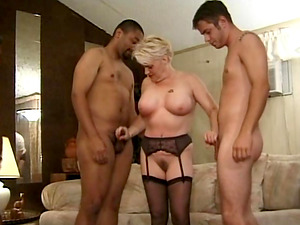 Rose wearing sexy garter belts and grabbing two youthfull dicks