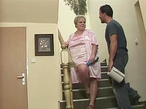 Awesome staircase pussy-smashing with a large-breasted granny Marge
