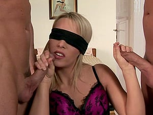 Kitty Cat eyes covered during a superb threesome session