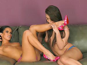 Jojo Smooch and Megan Rain undress each other and embark having hook-up