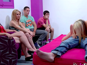 Hot orgy and glory-hole dick sucking with Noa and another slutty babe