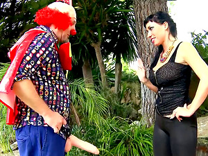 Clown Terry being ridden by vivacious and lascivious Suhaila Hard