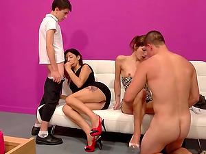 Small tits Carol Sevilla riding massive dick moaning