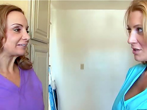 Victoria Voss and Jennifer Best join a randy lady for a threesome
