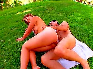 Dirty Harry having fun with lascivious Sadie Johansen on the grass