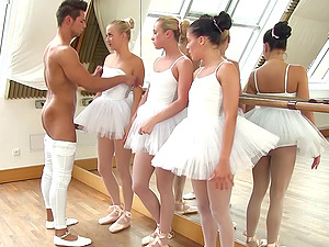 Beautiful ballerinas wait for their turn to lick the instructor's cock
