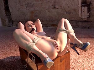 Submissive tied up honey gets turned on from feeling helpless