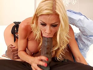 Blonde MILF Alexis Fawx chokes on a black lover's monster cock