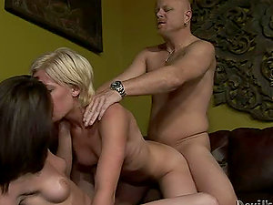 Two sexy nubile damsels get fucked hard by a bald dude