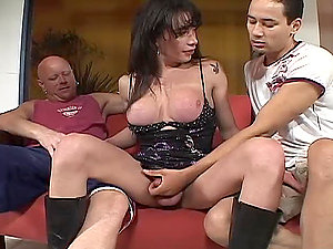 crazy brown-haired shemale get fucked by two guys