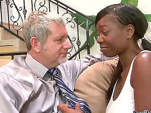 Jessica Grabbit the big-chested dark-hued chick gets fucked by old man