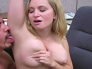 Stud licks and cums on blonde's underarm in the office