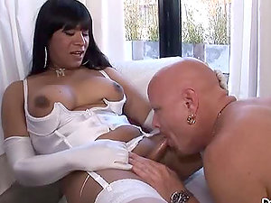 Horny dark-haired transsexual hooker get caboose fucked