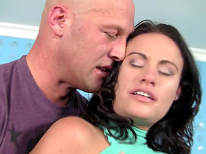 Fake-titted brunette Ashli Ames gets undressed and fucked rough